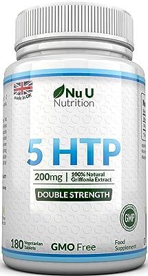 5-HTP - 200 mg - Doble Potencia - 180 Comprimidos (Suministro para 6 Meses) - Complemento alimenticio de Nu U Nutrition