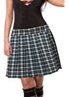 Black And White Schoolgirl Tartan Plaid Pleated Skirt Junior Long Henley