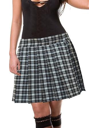 Black And White Schoolgirl Tartan Plaid Pleated Skirt Junior Long ...