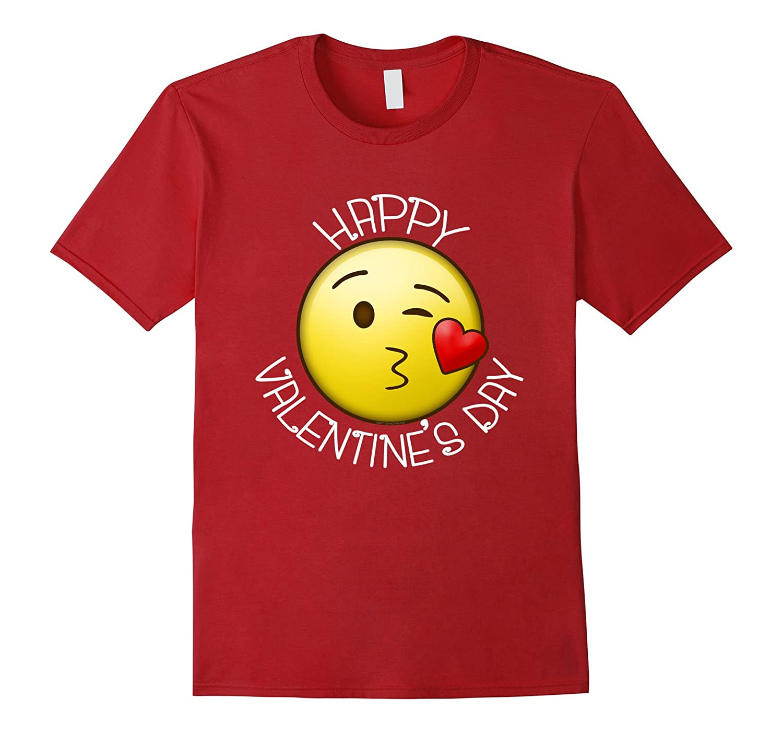 Cute Blow Kiss Heart Emoji Wink Happy Valentines Day T-Shirt-CL