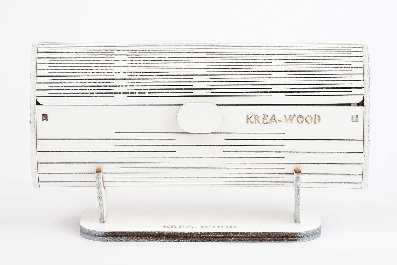 Birke natur St/änder handgemacht Brillenetui Farbe wei/ß von Krea-Wood/® Brand Holz