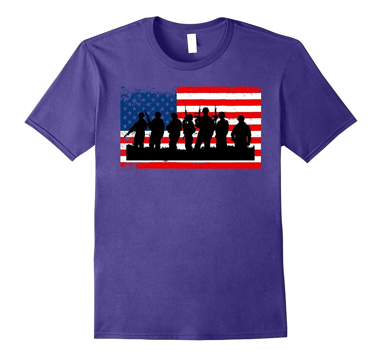 Soldier Patriotic American Flag Gift Memorial Day T-Shirt-Vaci