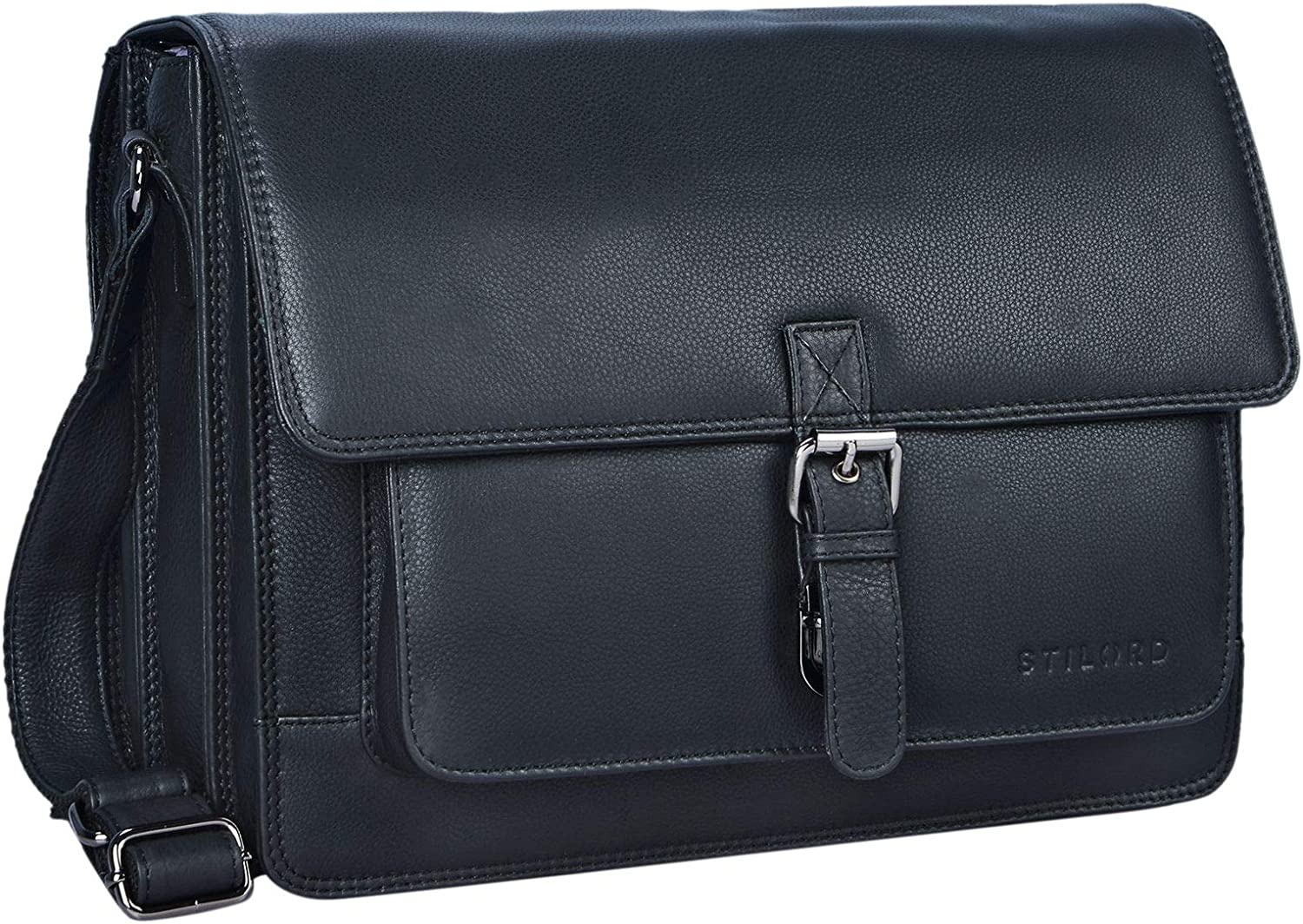 STILORD 'Romeo' Small Leather Briefcase for Men Women Vintage Business Bag for Work Office Suitable for A4 documents and 13,3 inches Laptops MacBooks, Colour:Kara - Cognac Black
