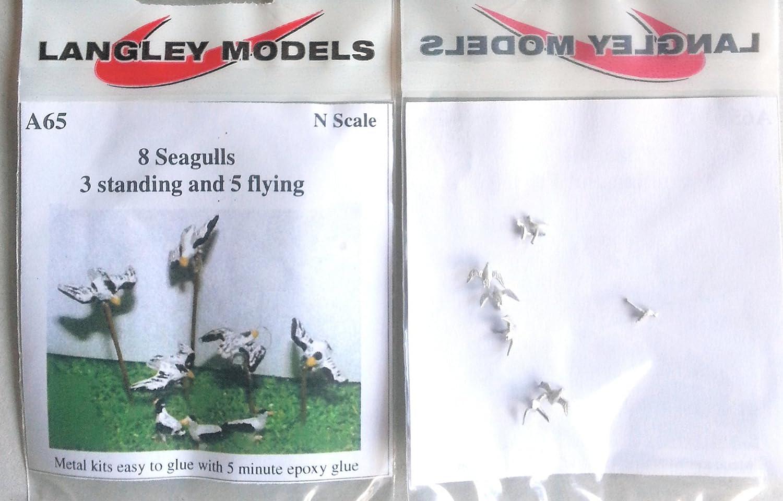 Langley Models 8 Seagulls N Scale UNPAINTED Metal Model Kit A65