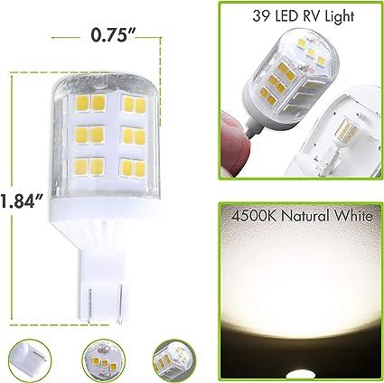 Natural White 4000K, 2Pack Leisure LED 2 Pack RV LED Light Bulbs 560LM Natural White 4000K T10 921 922 912 39SMD LED Replacement Light Bulbs for RV Indoor Lights 10-30V