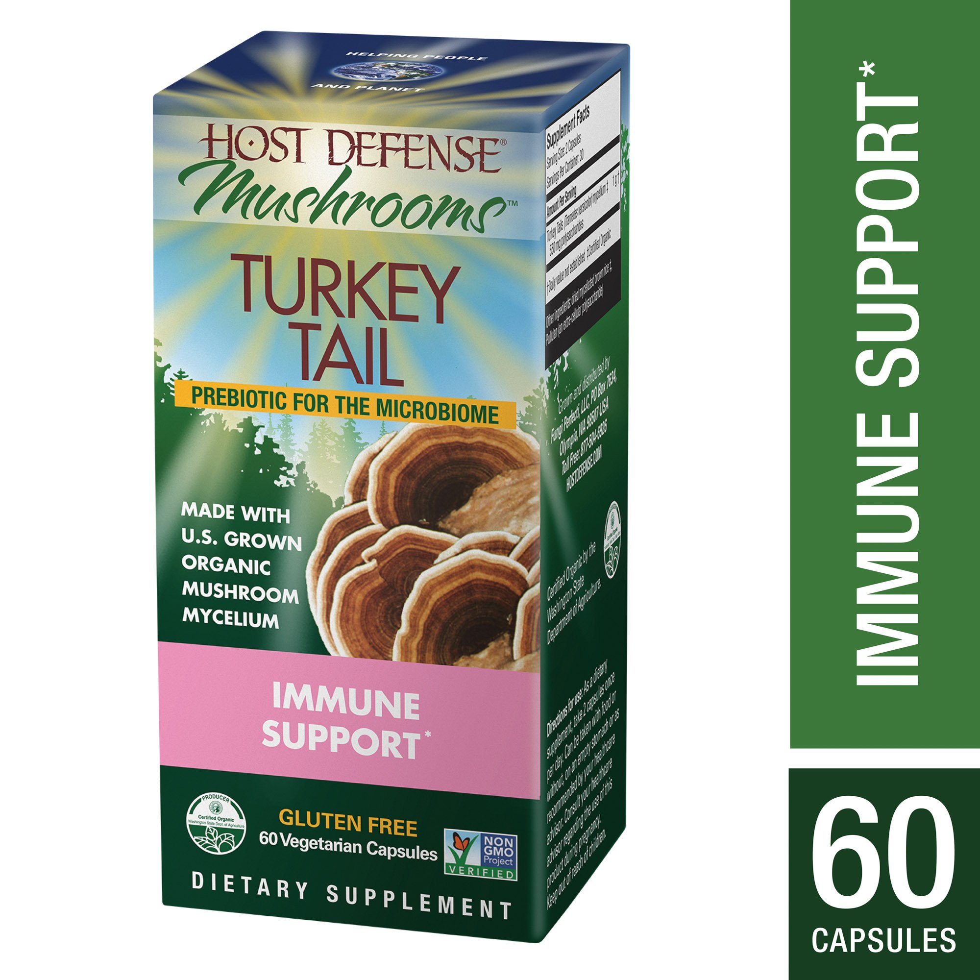 Host Defense - Turkey Tail Capsules, Mushroom Support for Immune Response, 60 Count (FFP)