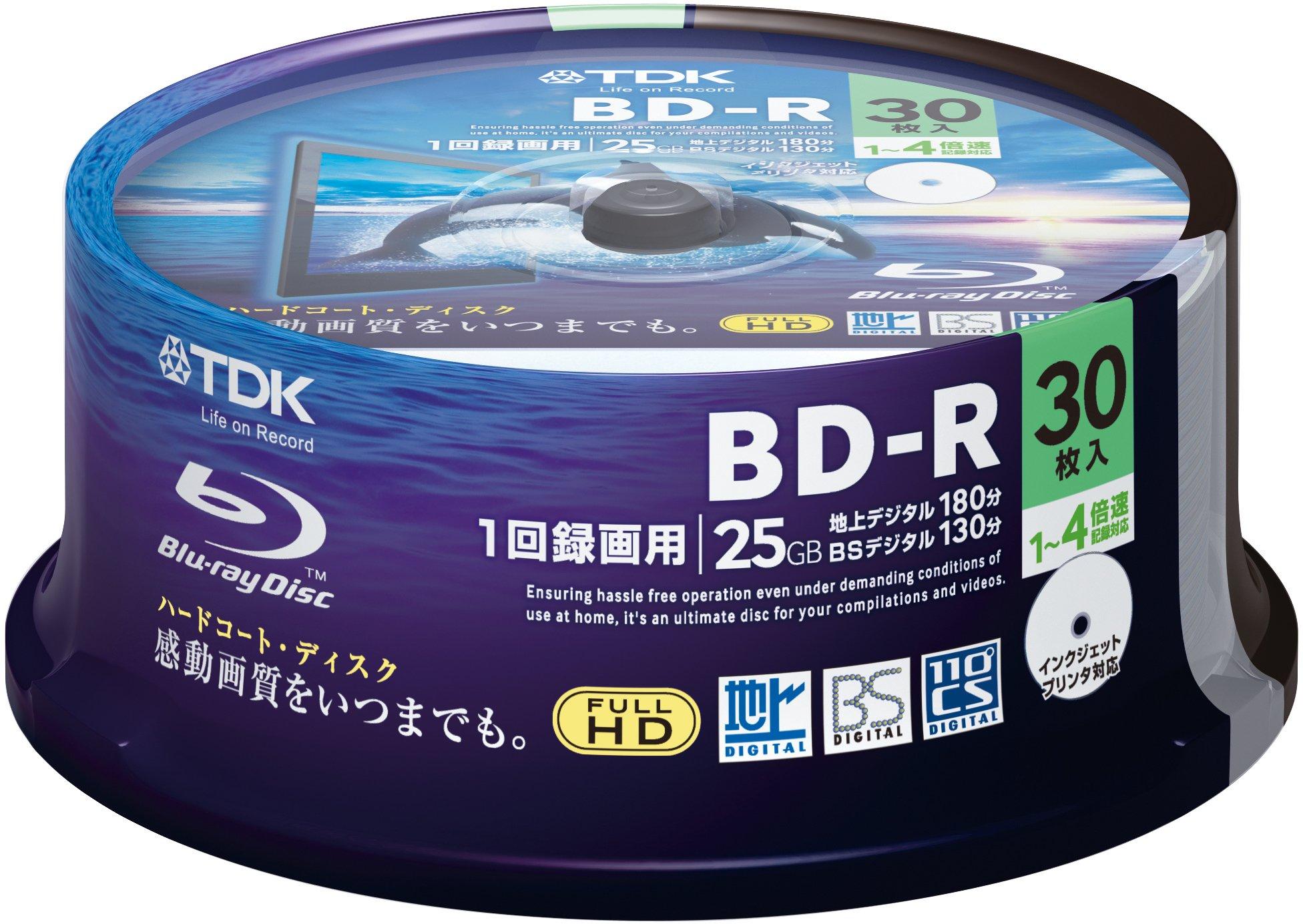 TDK Blu-ray Disc 30 Spindle - 25GB 4X BD-R - Printable