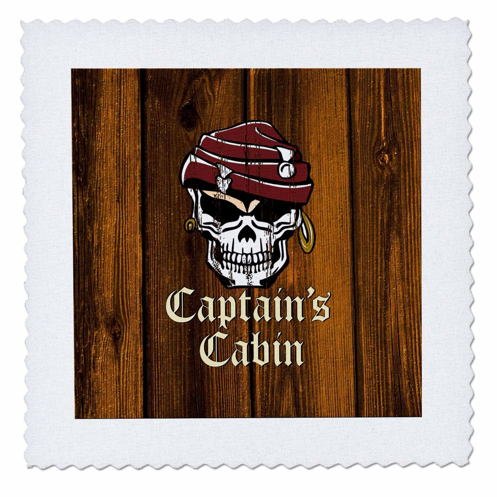 3dRose Russ Billington Nautical Designs - Pirate Skull Captains Cabin Design in Brown- not real wood - 18x18 inch quilt square (qs_261718_7)