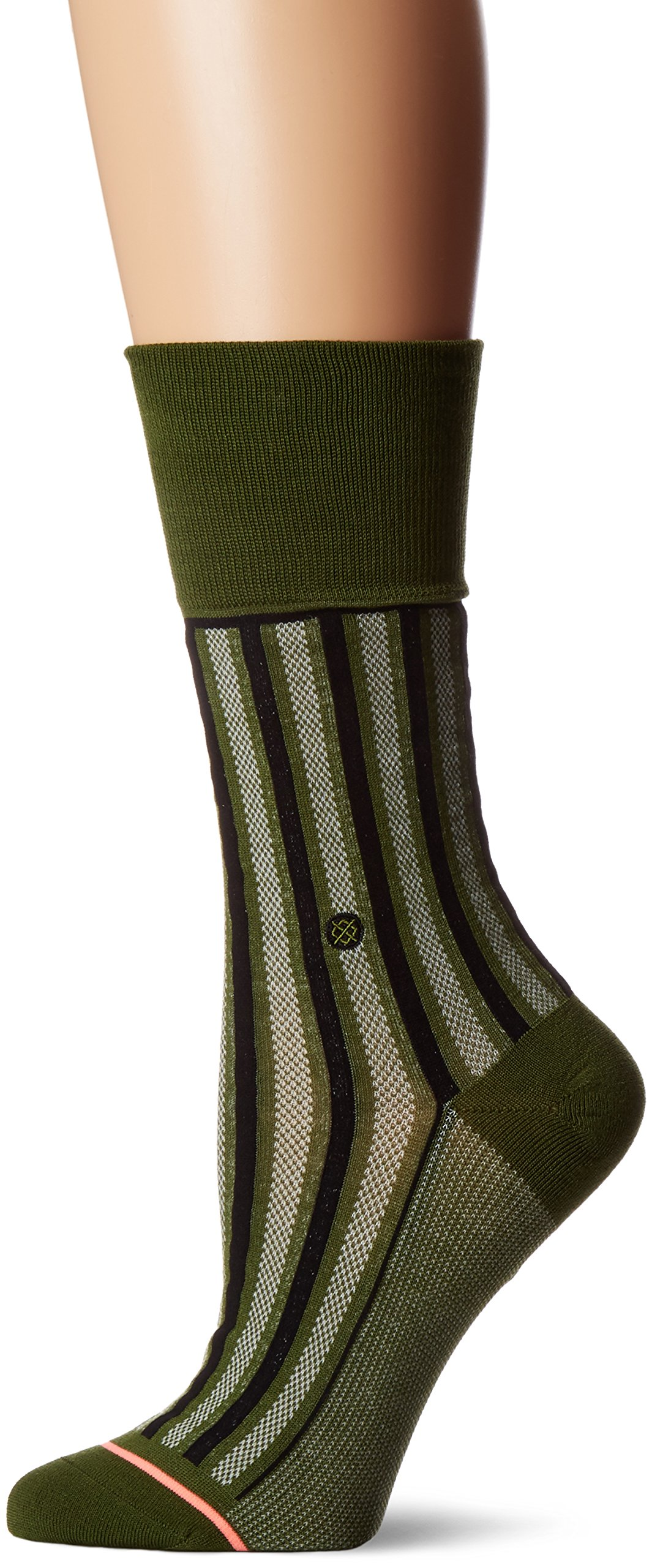 Stance Women's Stripe up Arch Support Everyday Crew Sock, Army Green, One Size