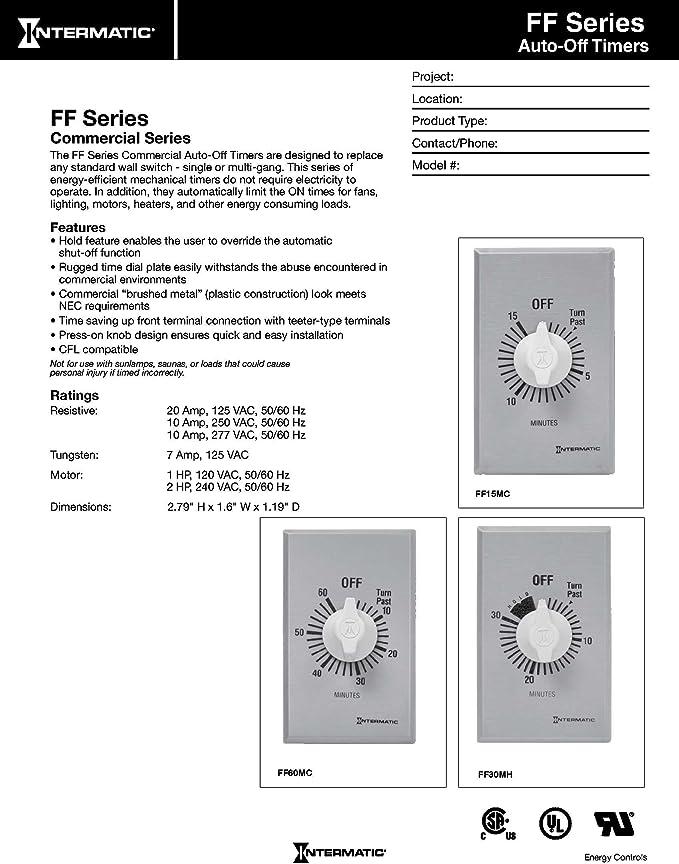 INTERMATIC FD5MW Timer,Spring Wound,5 Min