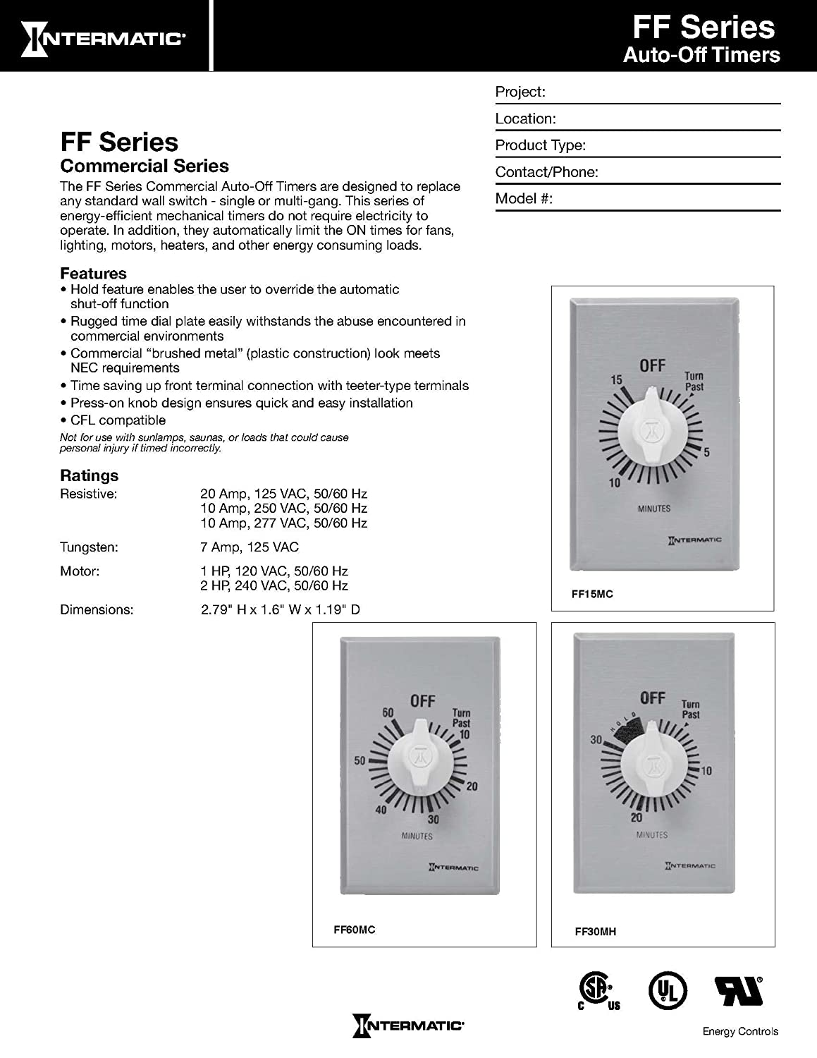 Intermatic Ff6h 6 Hour Spring Loaded Wall Timer Plastic With Circuit Diagram Brushed Metal Effect