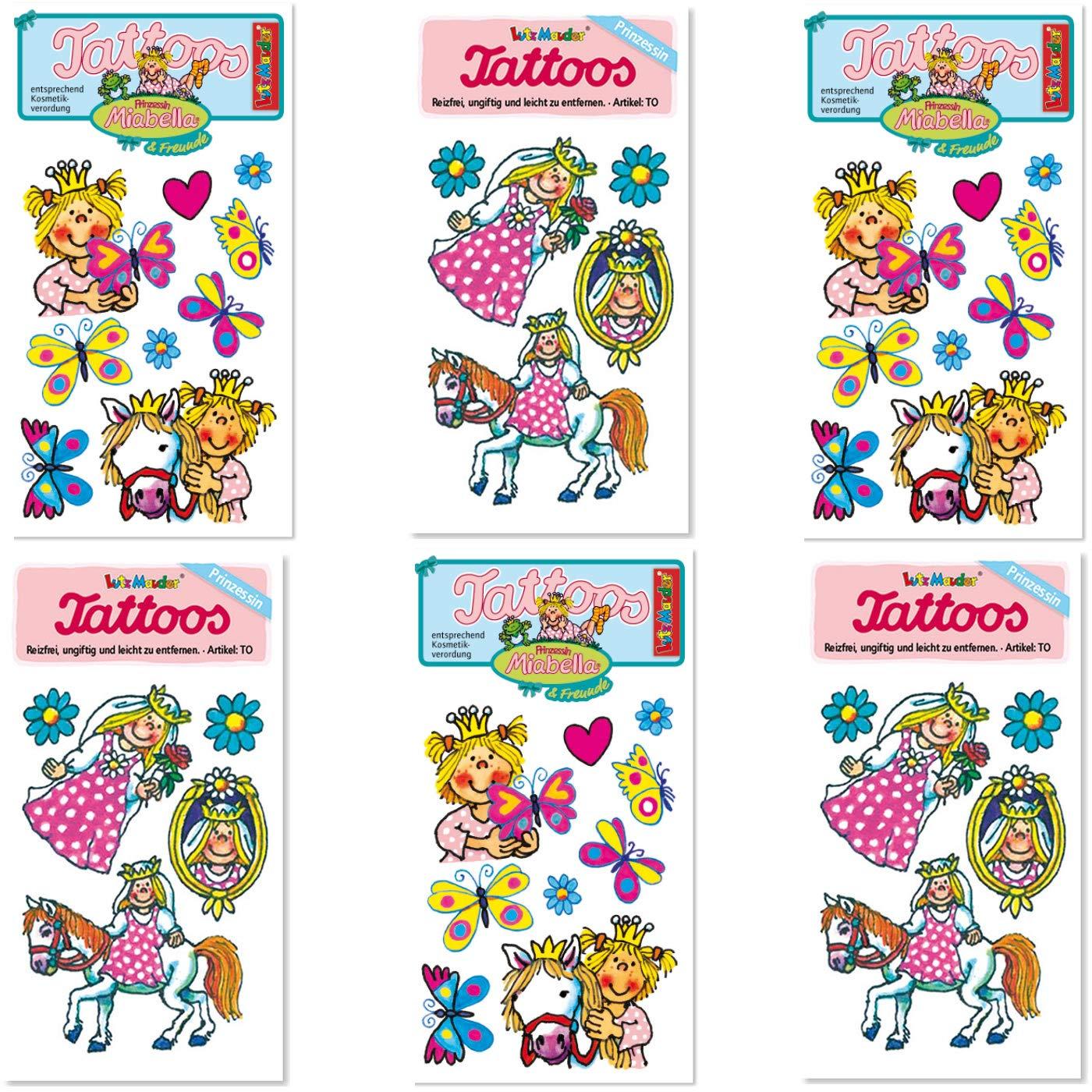 Juego de 6 tattoo-set * Mia Bella * DE Lutz Mauder//Niños adhesivo ...