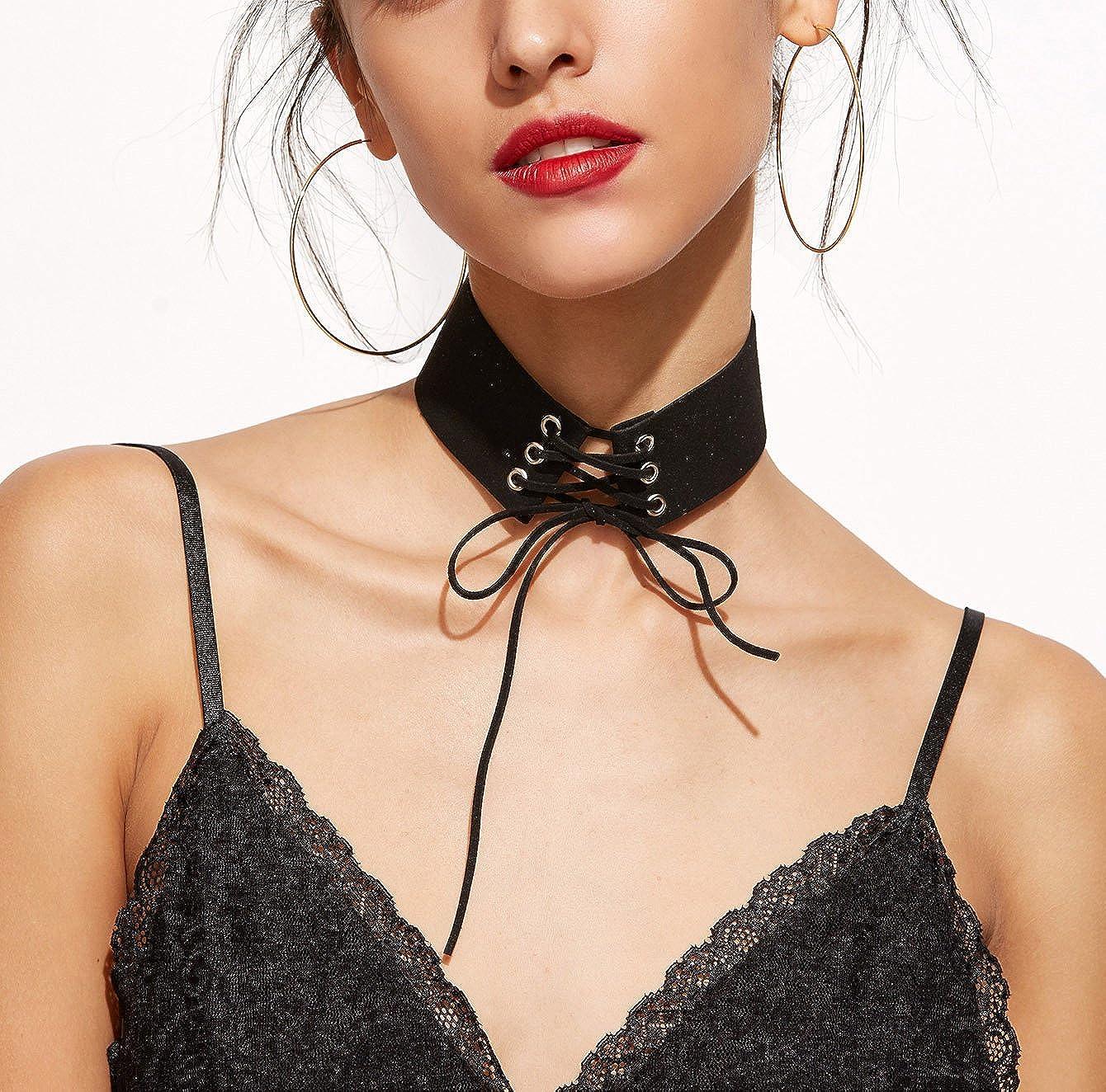 Fancymix Women Tie Up Gothic Punk Choker Velvet Cross Leather Black Nacklaces /…