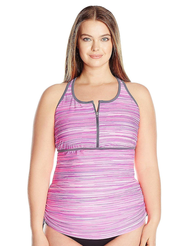 Free Country Women's Plus Size Sunset Strip Zip Front Racerback Tankini Top Watermelon/Cloud Grey 2X [並行輸入品] B075CJN853