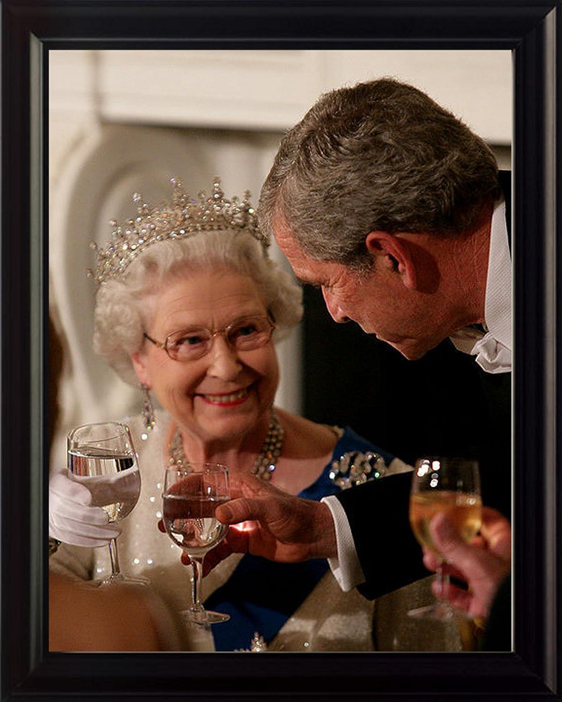Queen Elizabeth and George W Bush 8x10 Framed Photo