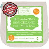 Things&Thoughts Amazing Organic Nut Milk Bag With Food Grade Cheesecloth | Eco Friendly Reusable Cotton Strainer for Almond Milk, Cheese Making, Juicing, Sprouting, Yogurt, Coffee, Tea and More