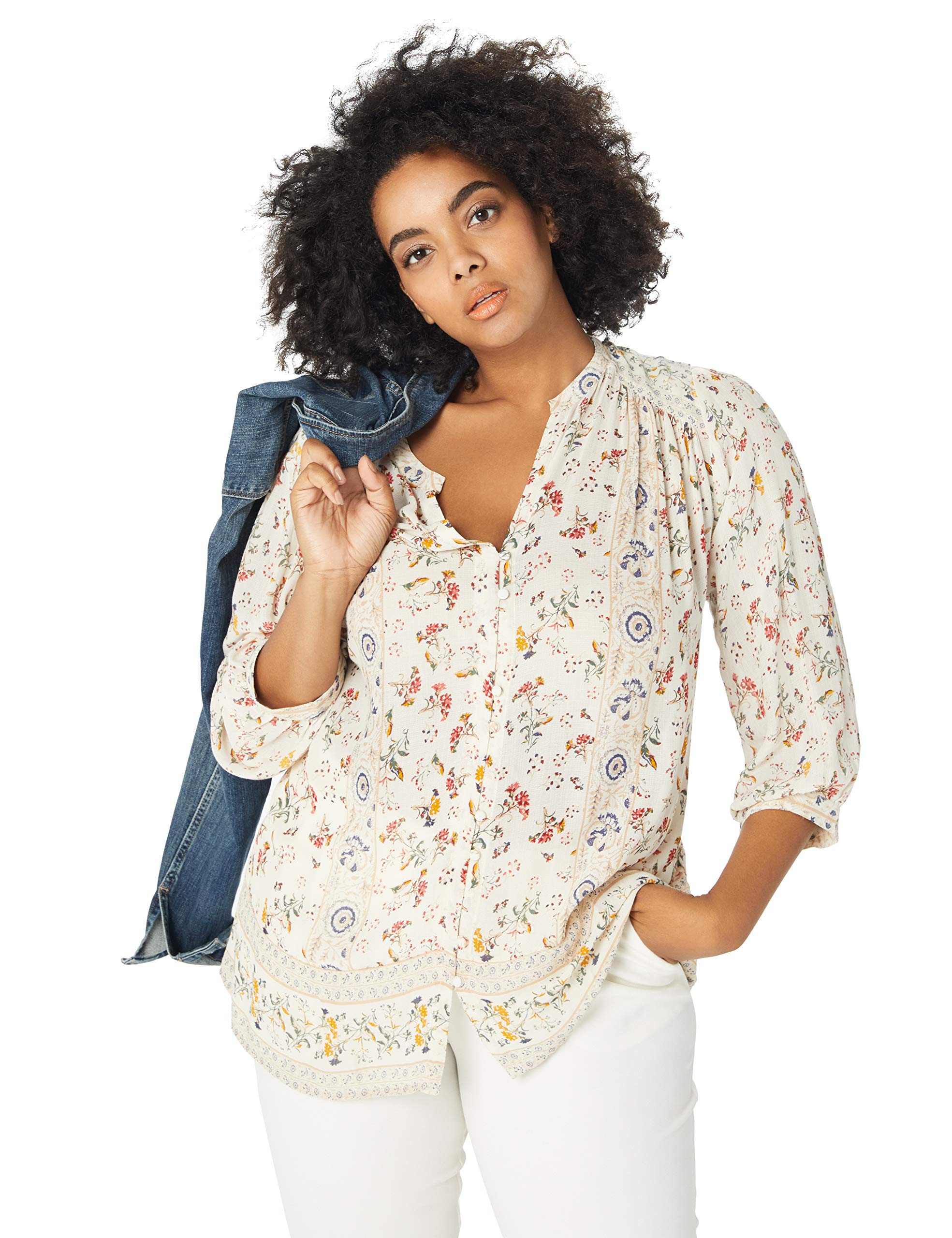 Lucky Brand Women's Plus Size Printed Peasant Top, Natural Multi, 2X by Lucky Brand (Image #1)