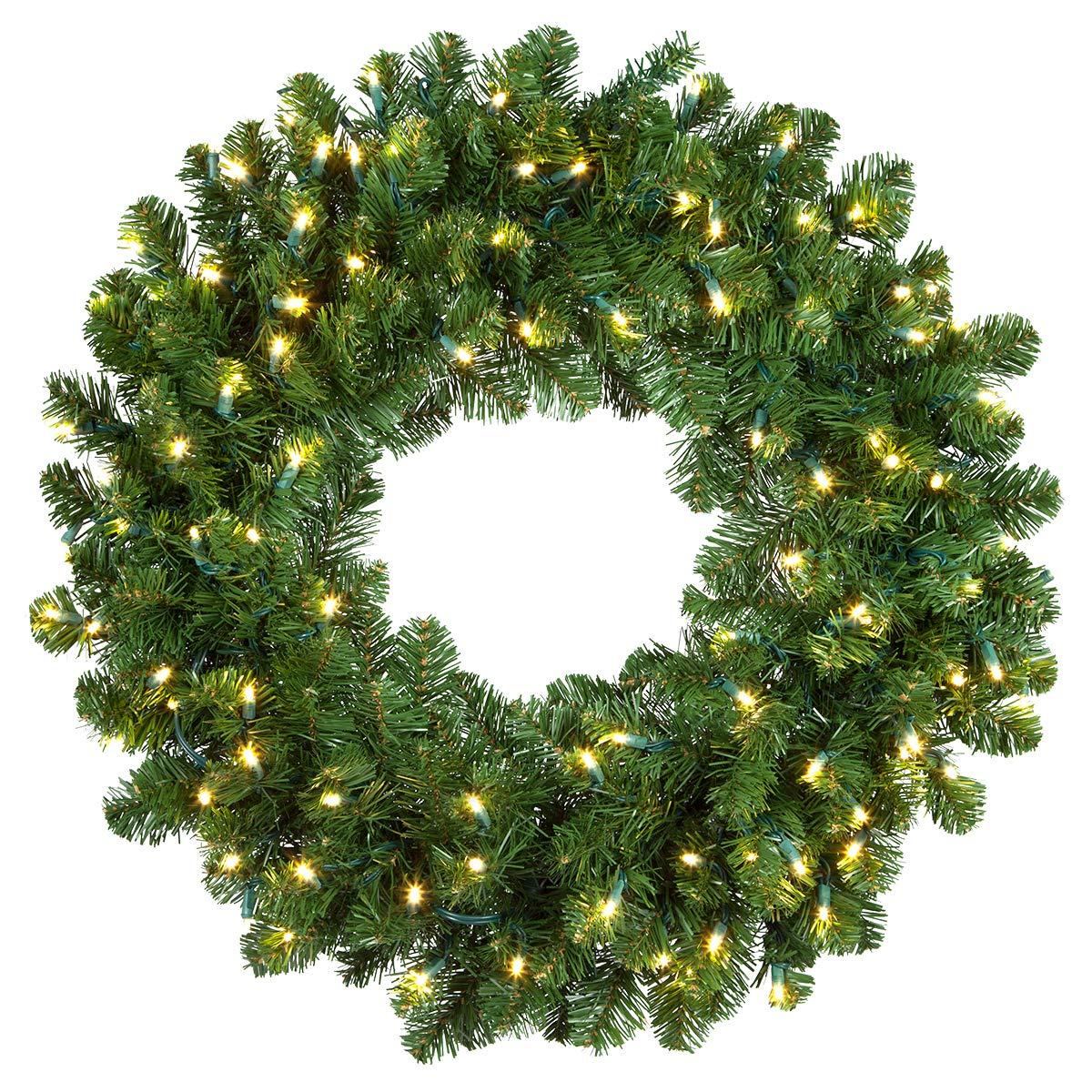 """Red Sleigh Oregon Fir Commercial Grade Holiday Wreaths with Matching Christmas Garland Greenery (36"""" Wreath, Warm White LED Lights)"""