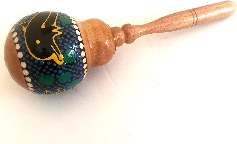 Handmade JIVE FEDERAL BRAND Hand Painted Wooden Maraca Shaker Musical Instrument Nice Sound TM