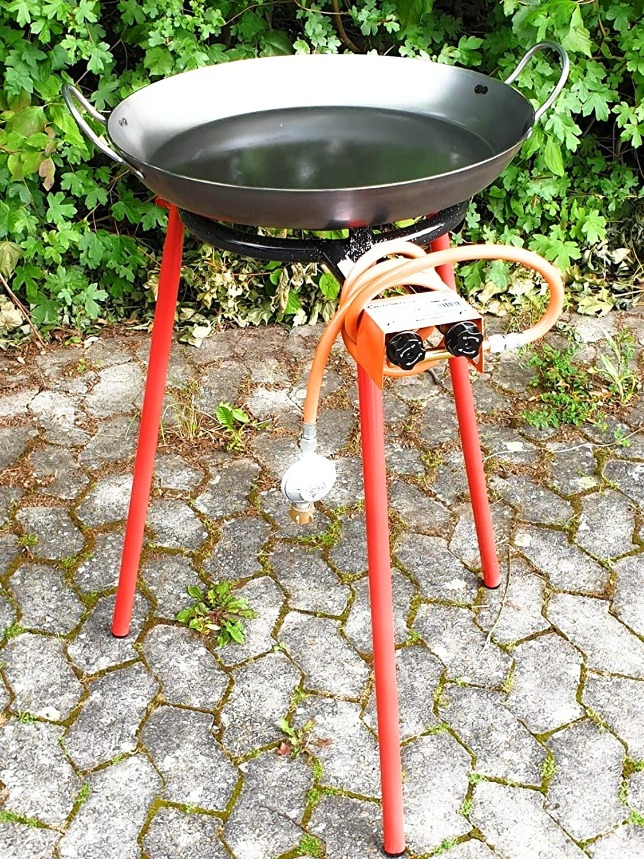 Pesado – Sartén de hierro 50 cm Paella Sartén Juego de soplete Gas barbacoa PAELLA
