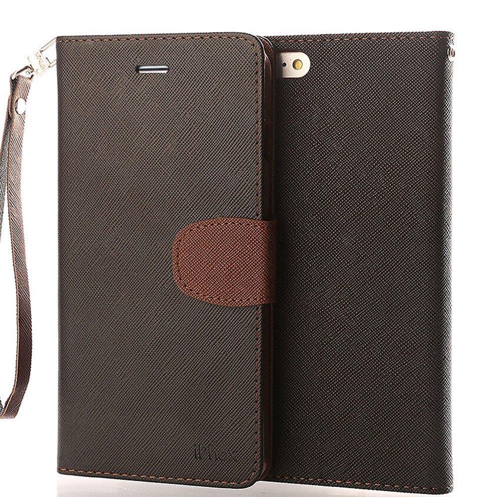Funda iPhone S IPHOX iPhone Carcasa Libro de Cuero Con Tapa y