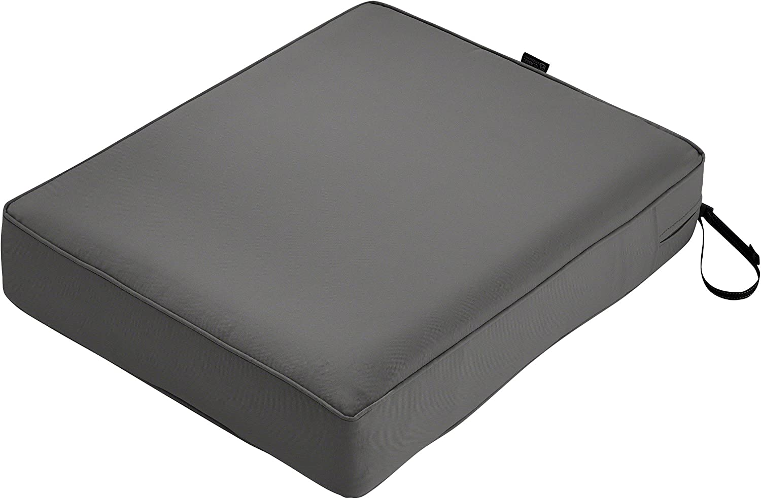 Classic Accessories Montlake Water-Resistant 21 x 25 x 5 Inch Rectangle Outdoor Seat Cushion, Patio Furniture Chair Cushion, Light Charcoal Grey