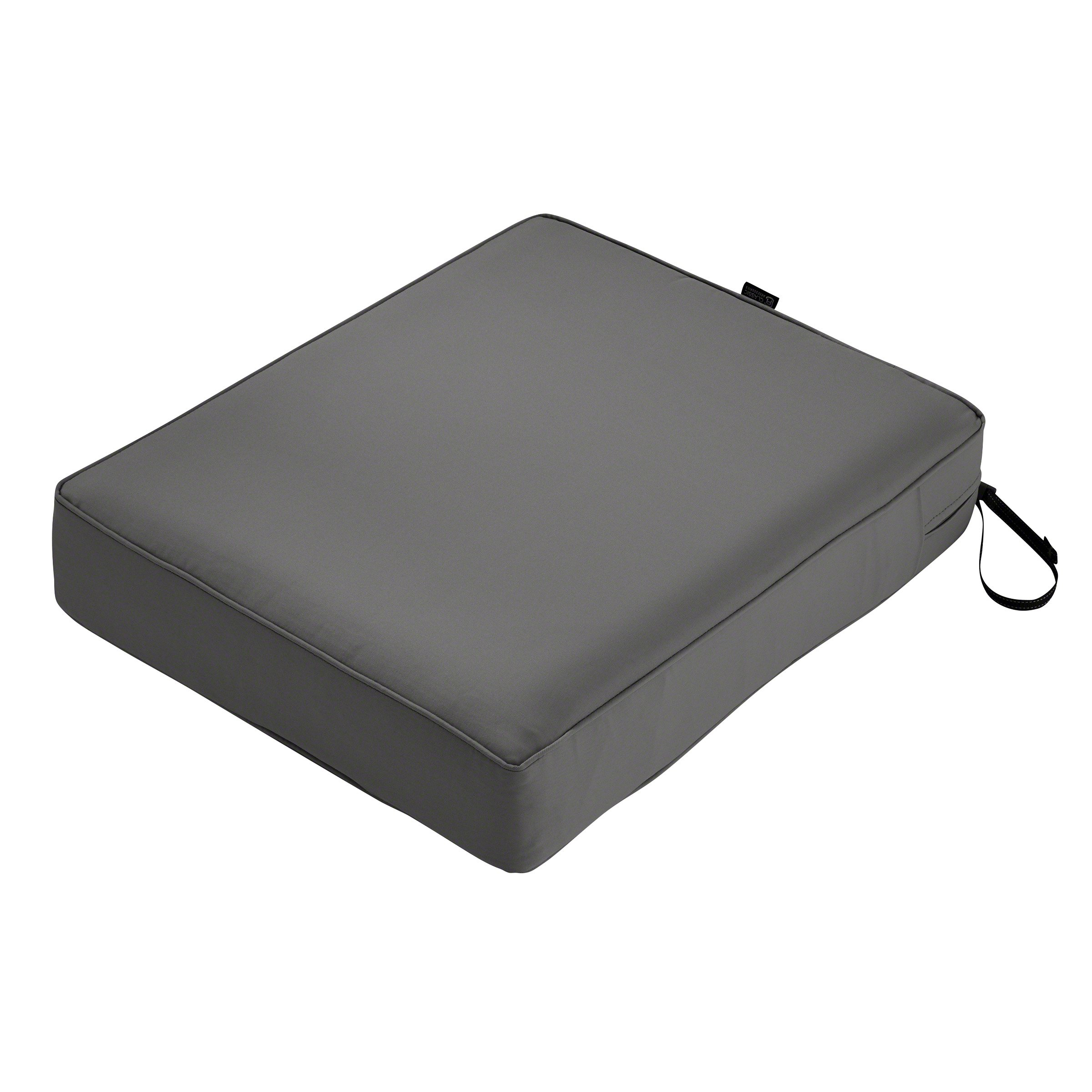 Classic Accessories Montlake Seat Cushion Foam & Slip Cover, Light Charcoal, 25x27x5 Thick