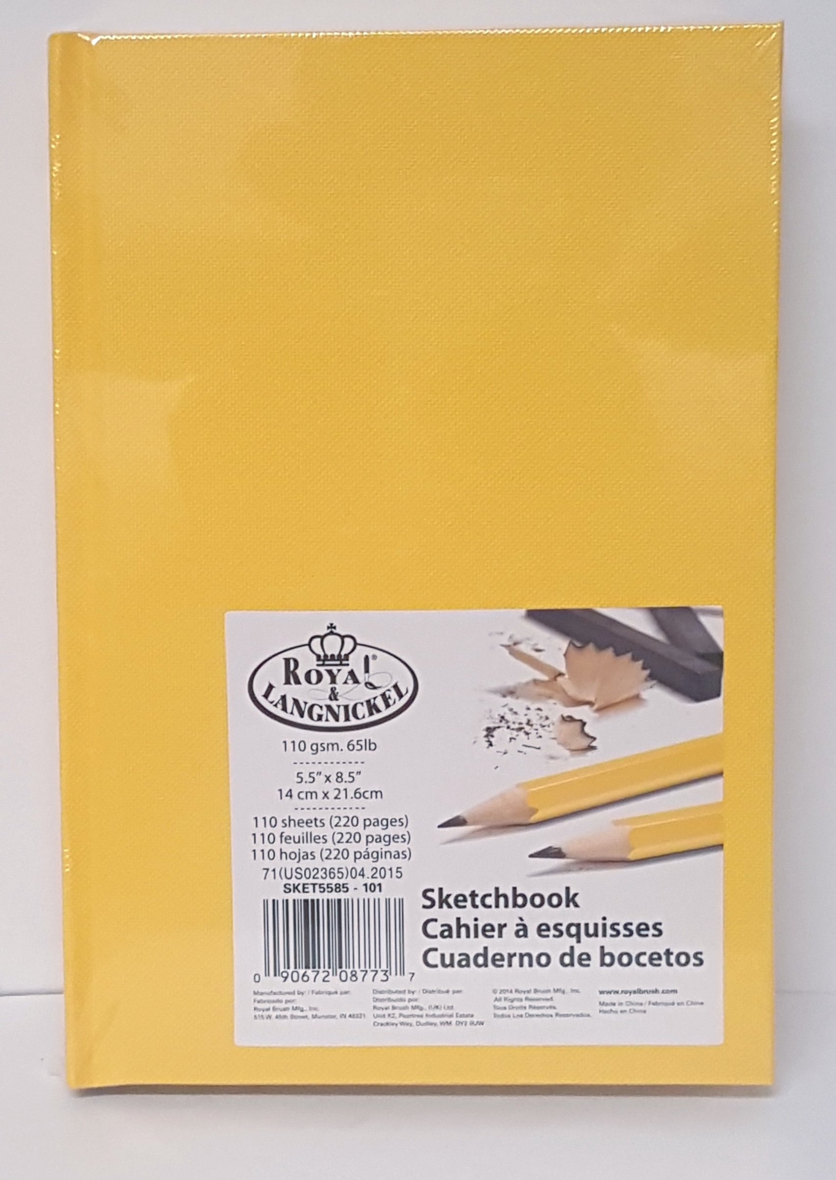 Royal Langnickel Sketchbook 5.5'' X 8.5'' 220 pages Yellow HardCover Drawing Book