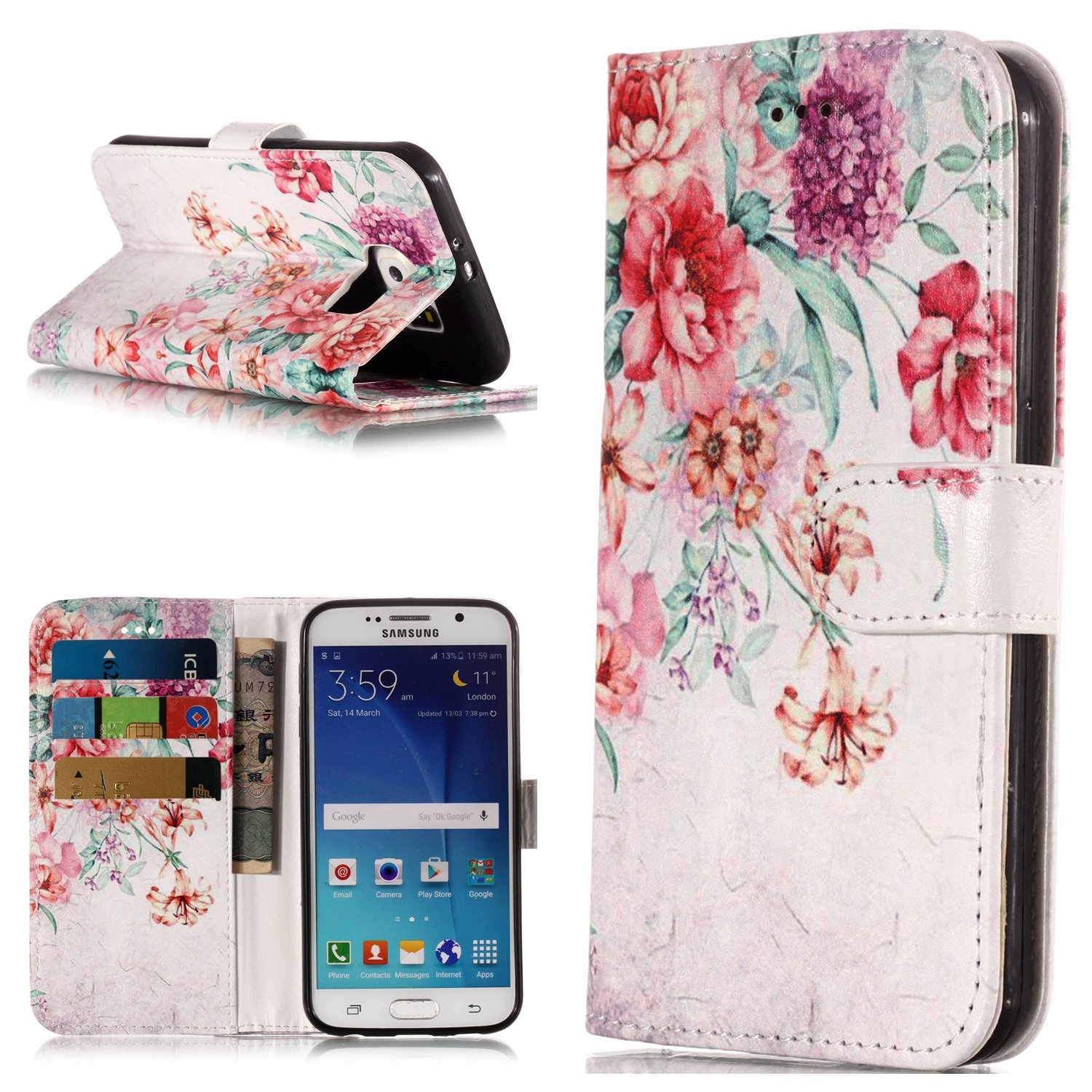 Marble Flip Case for Galaxy S6,Wallet Cover for Galaxy S6,Leeook Pretty Elegante Creative Strap Marble Rose Gold White Design Bookstyle Wrist Strap Magnetic Card Slots Pu Leather Soft Inner Stand Function Protective Folding Wallet Case Cover for Samsung Ga