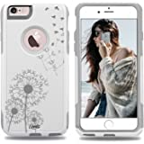 iPhone 6 Case White Dandelion Birds [Dual Layered Hybrid] Protective Commuter Case for iPhone 6s White Case by Unnito