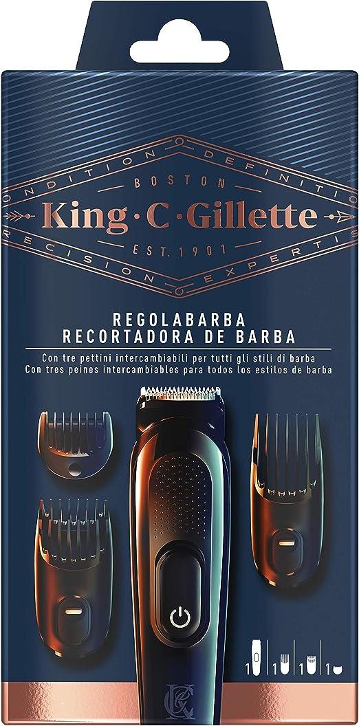 Gillette King C. Kit de recortadora de barba inalámbrica para ...