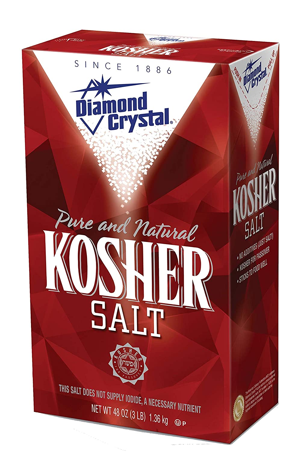 Amazon.com : Diamond Crystal Kosher Salt – Full Flavor, No Additives and  Less Sodium - Pure and Natural Since 1886-3 Pound Box : Grocery & Gourmet  Food