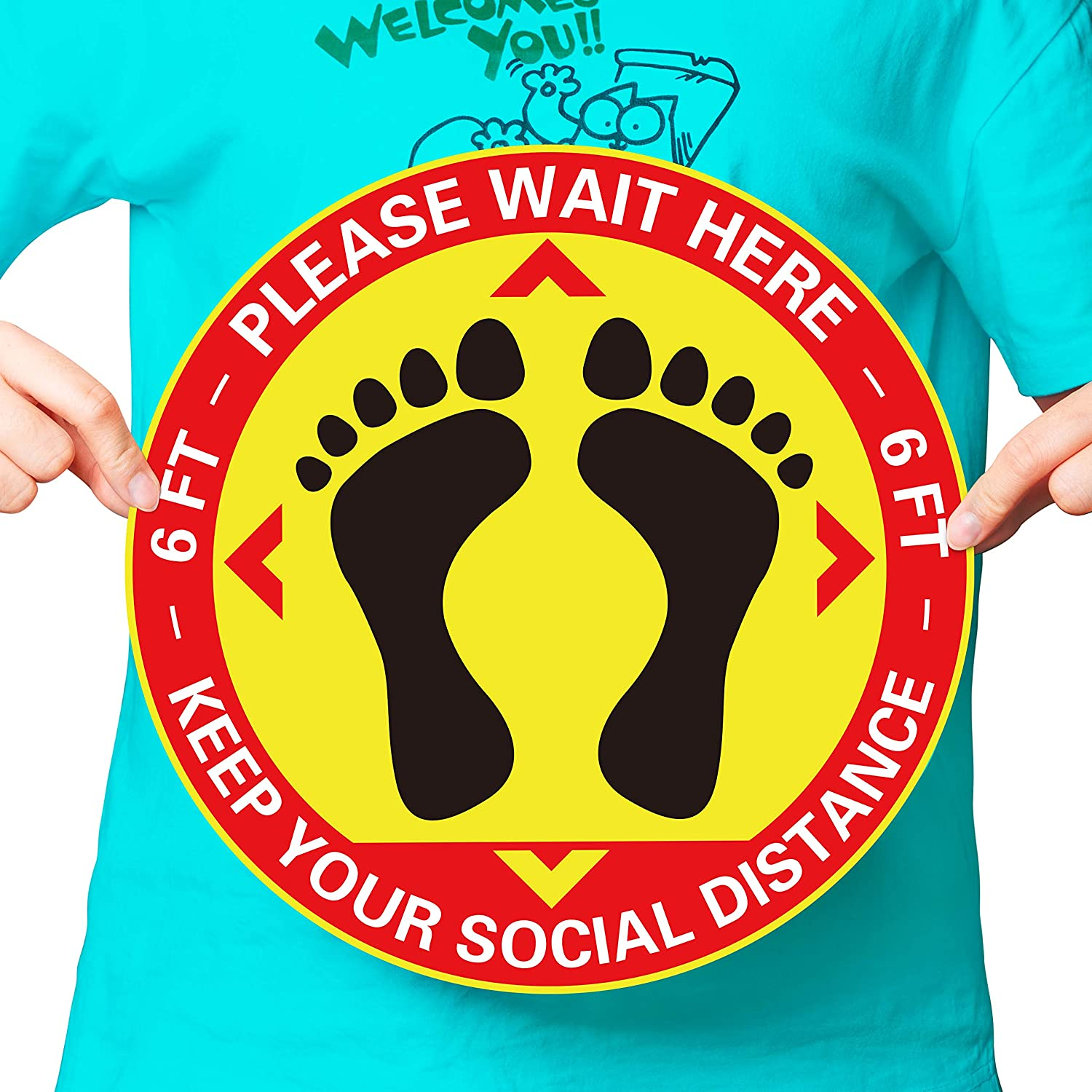 Maintain 6 Ft Distance Social Distancing Indoor Anti-Slip Floor Decal K Social Distancing Floor Sign 3 Maintain Distance Floor Sign Yellow 12 x 12 Please Keep a Safe 6 Foot Distance