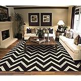 contemporary black chevron striped rug 7 foot 10 inch