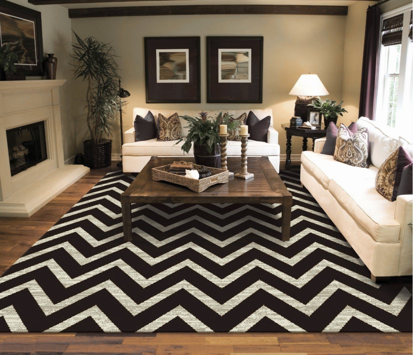 New Chevron Black Ivory Area Rugs For Living Room 5×7 ZigZag Rugs For Bedroom, 5×8 Black Zig Zag Rug