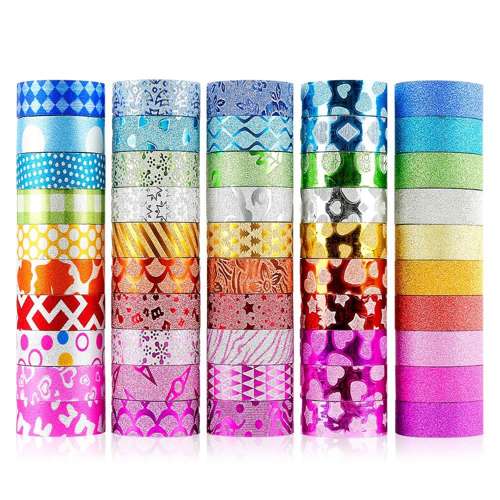 50 rolls cintas adhesivas con glitter (3m largo cada una)