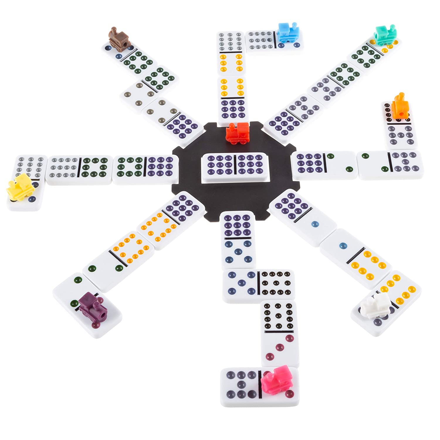 Mexican Dominos – Train Style Set with 91 Colorful Tiles in Suits 0-12 with 9 Plastic Trains & A Center Hub – Fun Classic Family Game by Hey! Play!