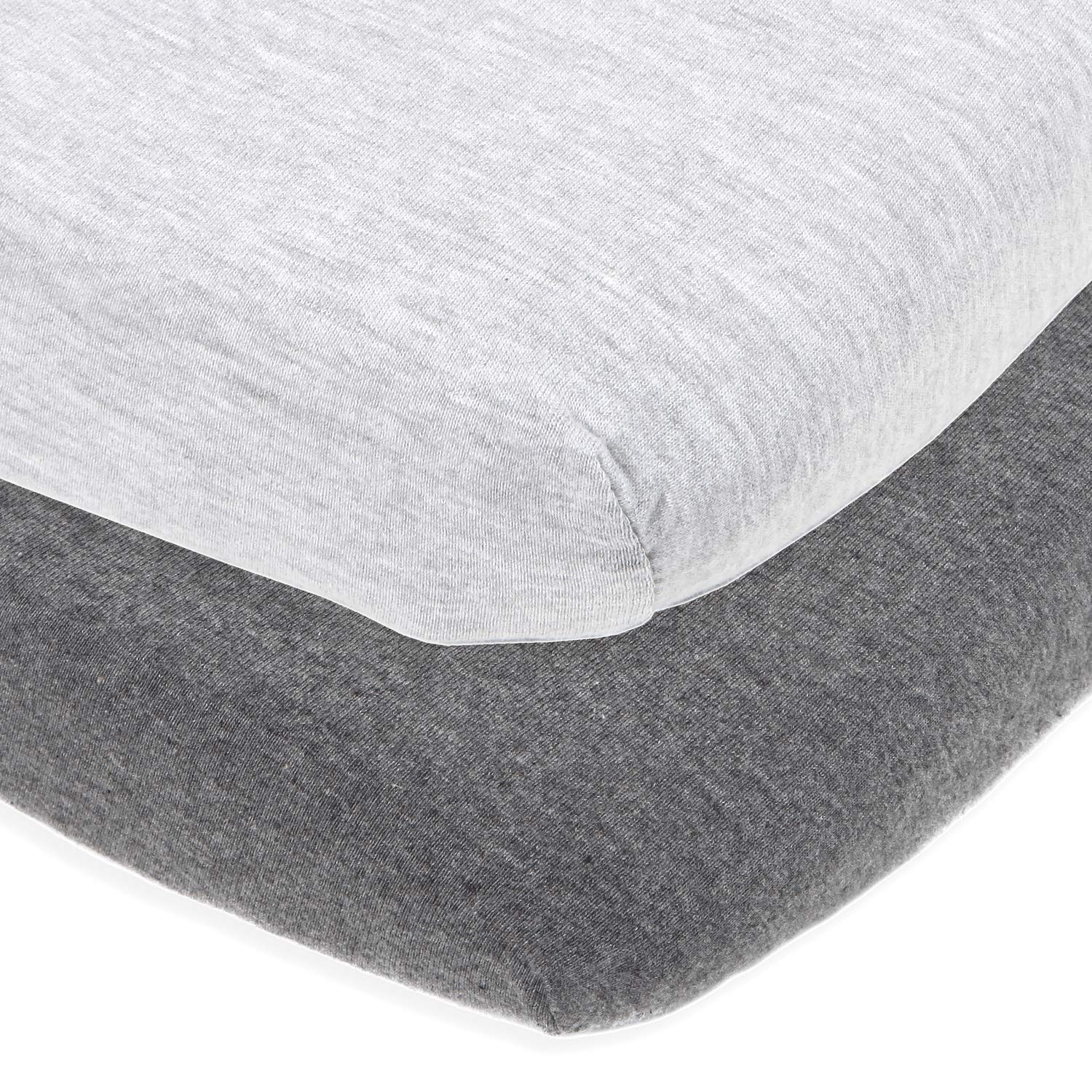 Cuddly Cubs Bassinet Sheets Set Easy to Put On Arms Reach Versatile, Chicco Lullago, Halo bassinest and Many Other Oval, Rectangle Shape Bassinet Pads | 100% Jersey Knit Cotton | Heather Grey by Cuddly Cubs