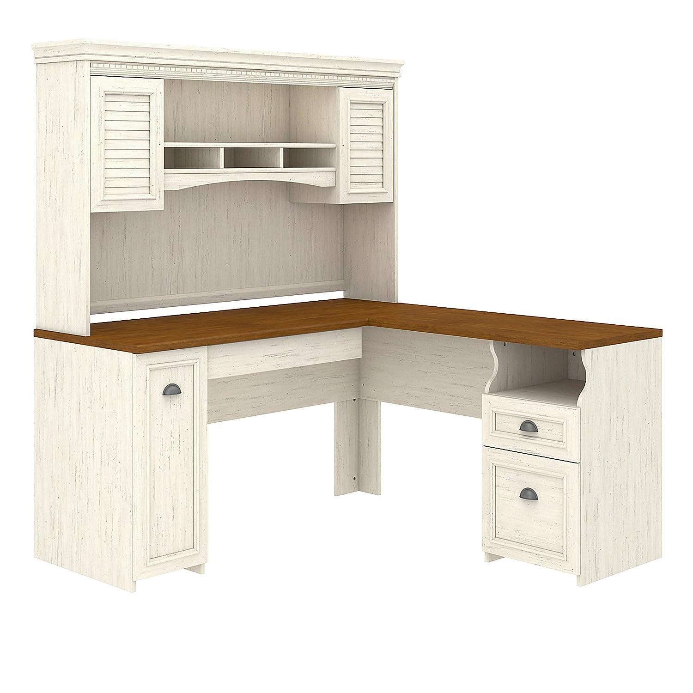 Bush Furniture White L-Shaped Desk With Hutch