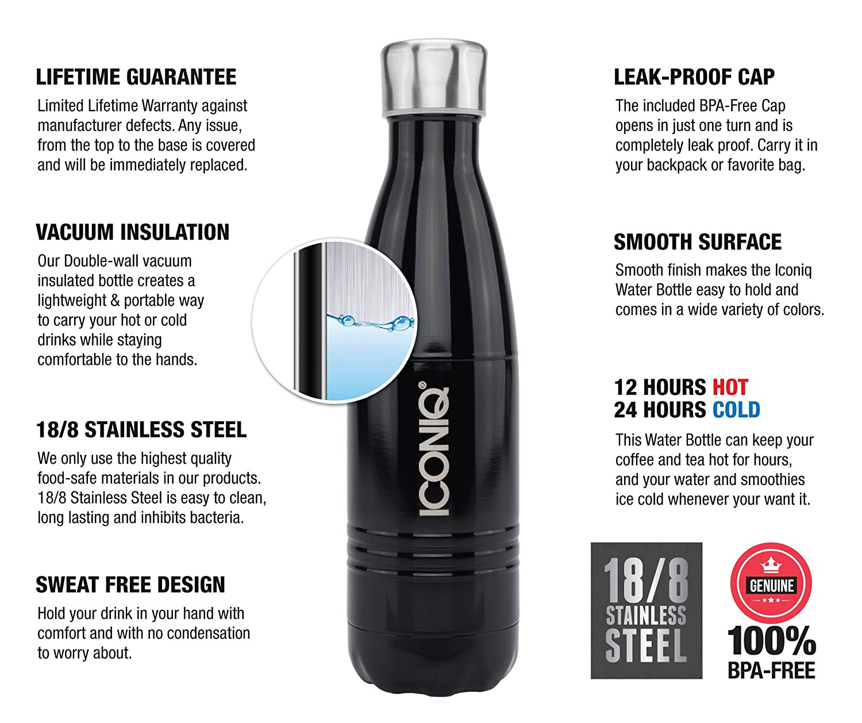 iconiq aislado al vacío de acero inoxidable botella de agua, 17 oz, Negro azabache: Amazon.es: Deportes y aire libre