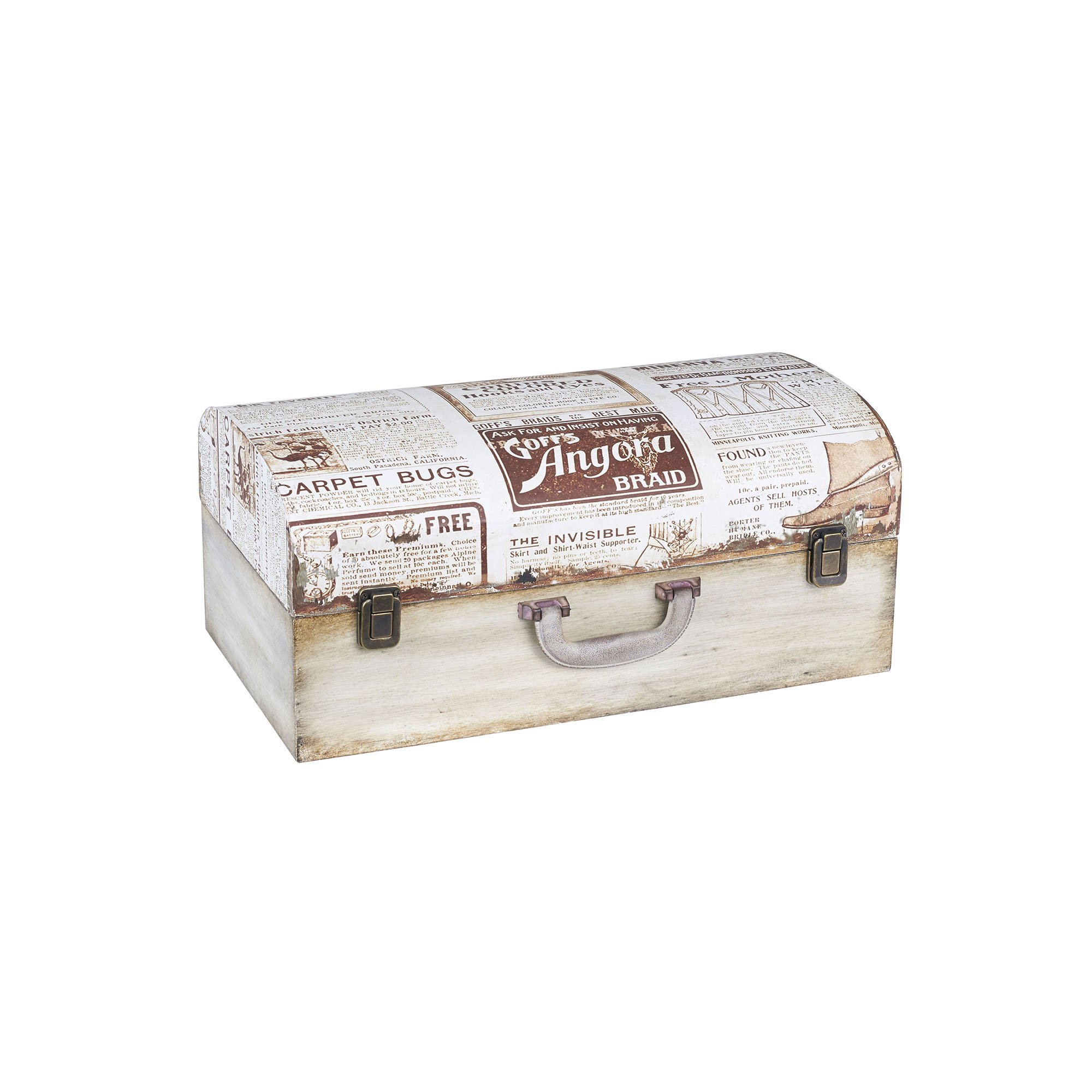 Household Essentials 9529-1 Vintage Wood Suitcase Storage Trunk, Small, White/Newspaper