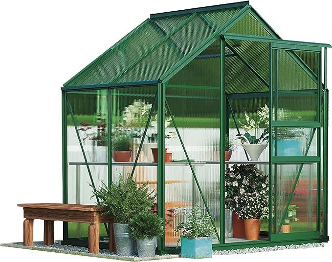Gran invernadero de policarbonato para jardín, estructura reforzada a prueba de óxido, puerta corredera y claraboya, paneles de doble pared con base de acero de 1, 8 x 2, 4 metros: Amazon.es: Jardín