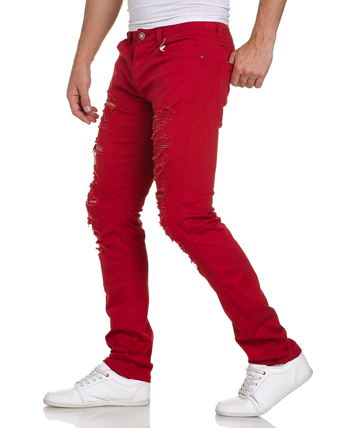 BLZ jeans - Man ultra skinny red jeans with holes