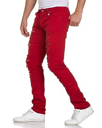 Blz Jean Troué Rouge Ultra Homme Couleur Jeans Skinny E9YW2DHI