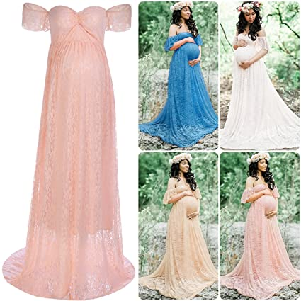 FYMNSI Women Maternity Photography Lace Gown Short Sleeves Off Shoulder Long Maxi Dress Baby Shower at Amazon Womens Clothing store: