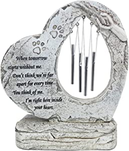 YLSMILE Pet Memorial Stones for Loss of Pet Gifts, Heart Shaped Paw Print Pet Memorial Gifts, Pet Grave Markers for Dog Memorial Gifts
