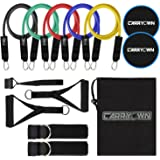 13 pcs Resistance Bands Set Workout Bands Exercise Bands Adult - Include 5 Stackable Exercise Bands + 2 Core Sliders with Door Anchor and Handles, Legs Ankle Straps, Carry Bag & Guide Book for Home