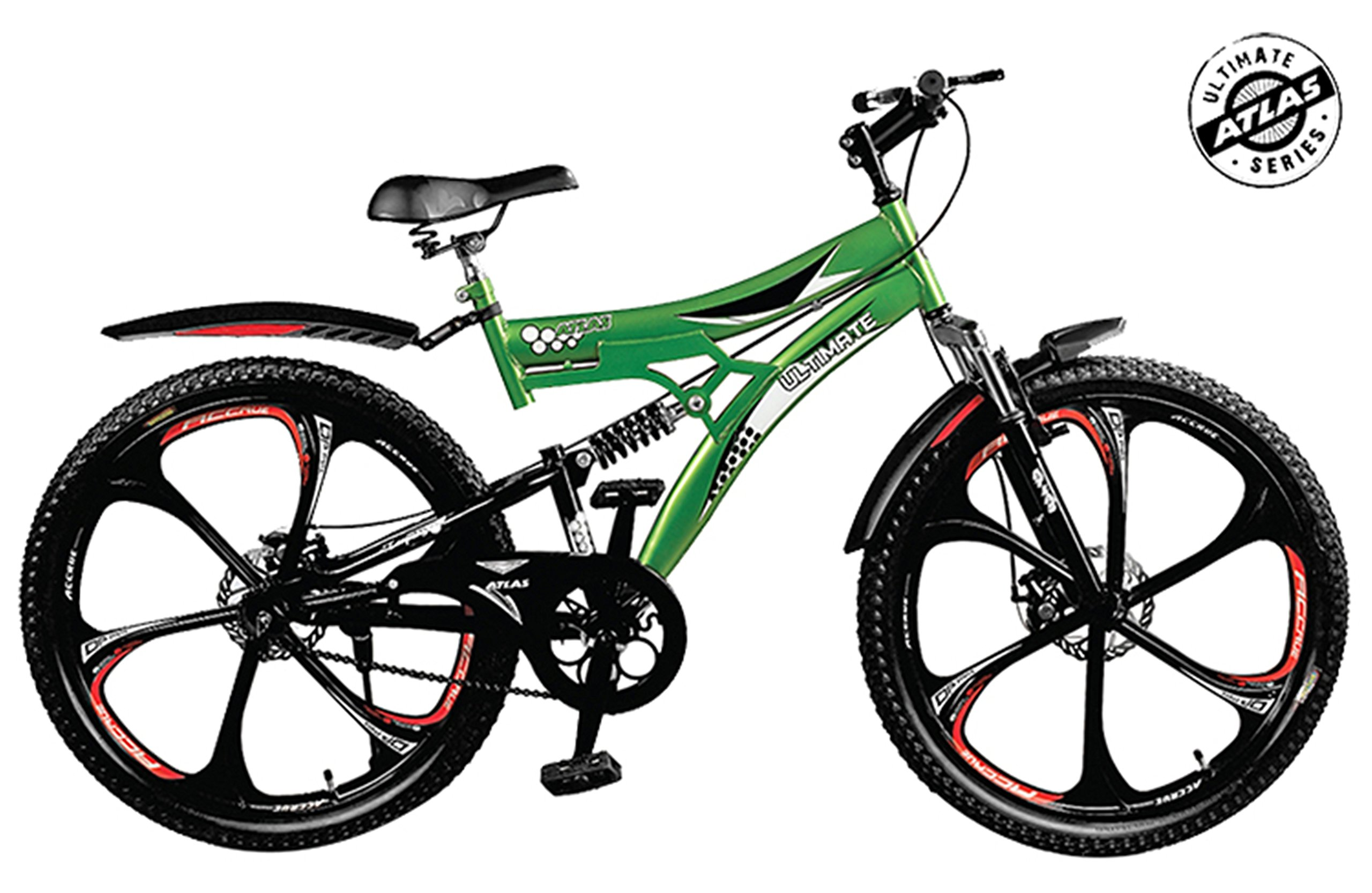 Atlas Torpedo D/Shox And Dual Disc Brake 26T Mountain Cycle (Green/Red) product image