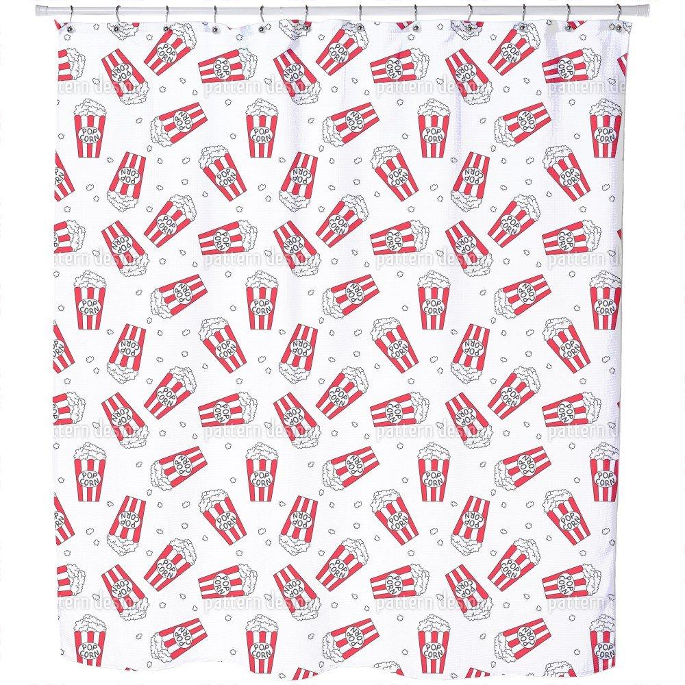 Uneekee Popcorn Movie Night Shower Curtain: Large Waterproof Luxurious Bathroom Design Woven Fabric