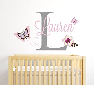 Personalized Butterflies Name Wall Decal for Girls - Baby Room Decor - Nursery Wall Decals - Flowers Wall Decor
